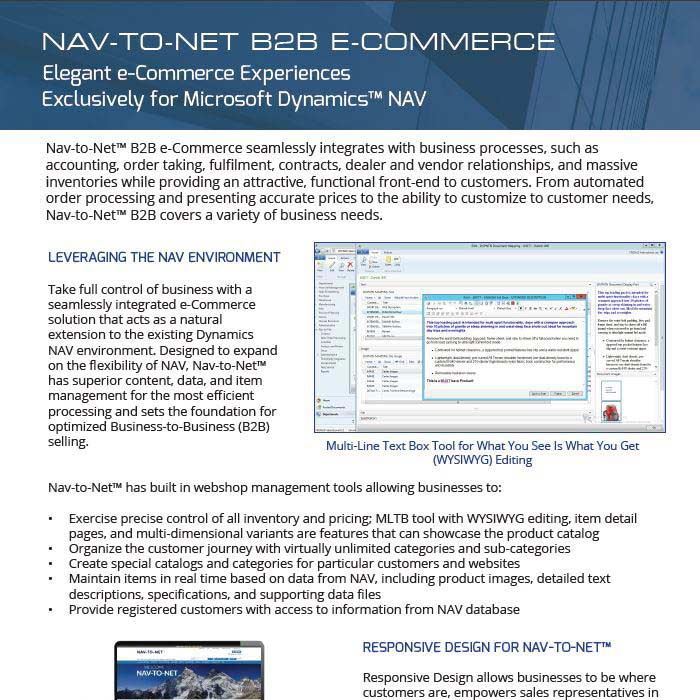 Nav-to-Net B2B e-Commerce Product Brochure