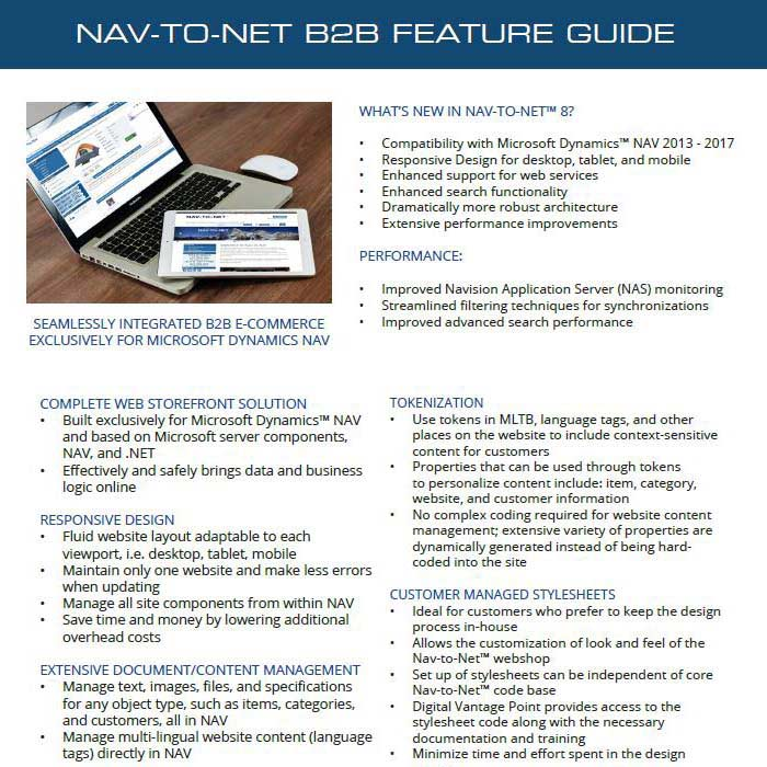 Nav-to-Net B2B e-Commerce Feature Guide