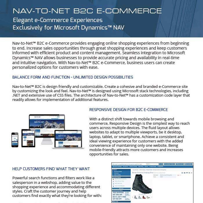 Nav-to-Net B2C e-Commerce Product Brochure