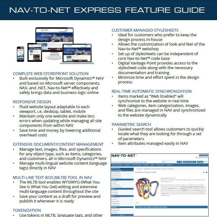 Nav-to-Net Express e-Commerce Feature Guide
