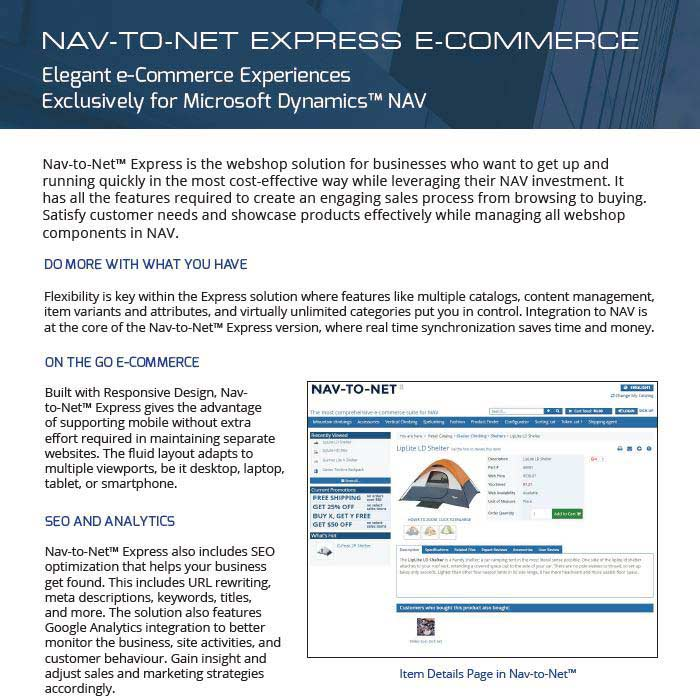 Nav-to-Net Express e-Commerce Product Brochure