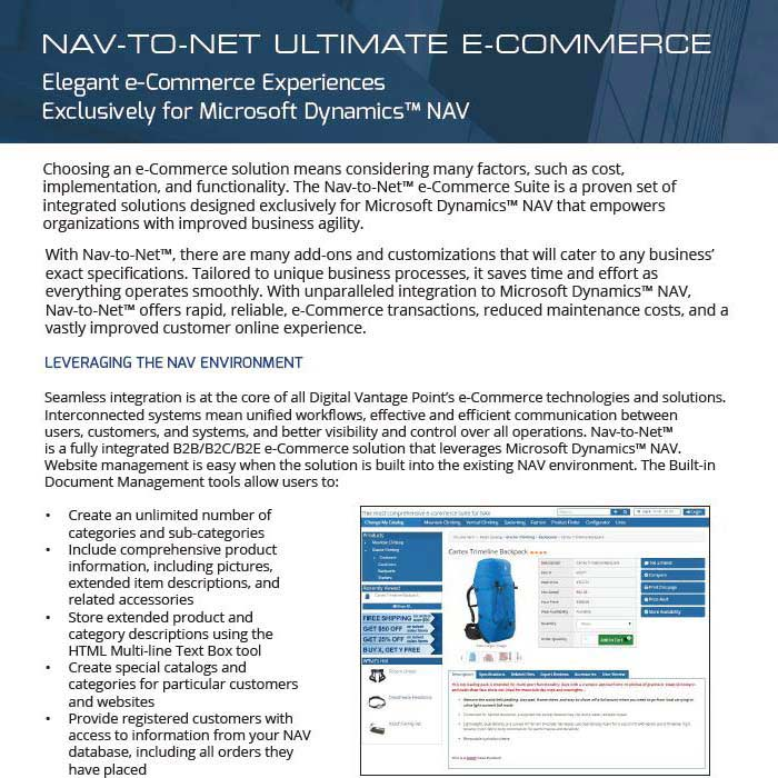 Nav-to-Net Ultimate e-Commerce Product Brochure