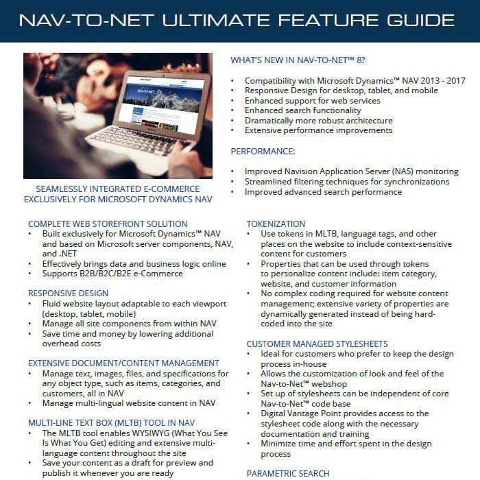 Nav-to-Net Ultimate e-Commerce Feature Guide