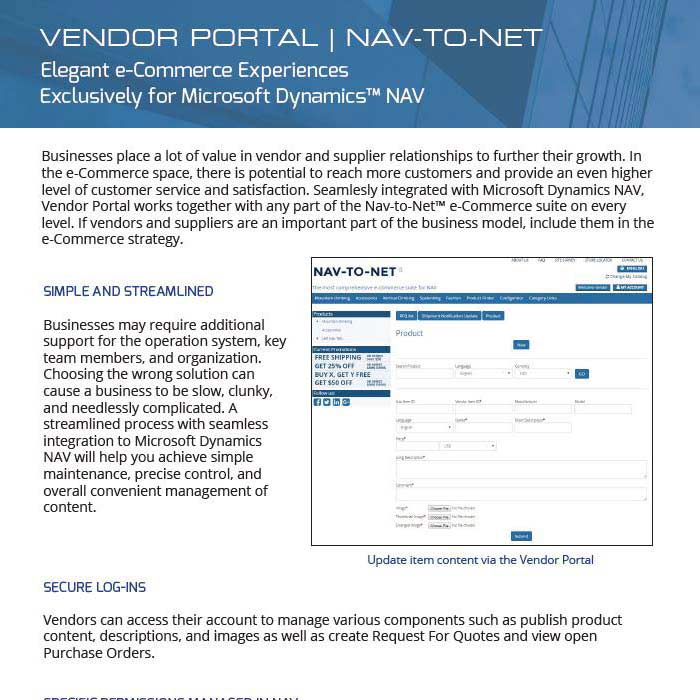 Vendor Portal Product Brochure